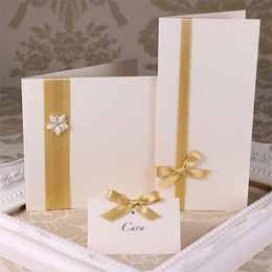 Ivory Gold Shimmer Creased Cards