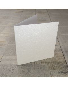 Creased Card Small Square - Applique Ivory