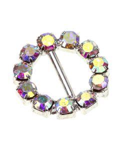 Crystal AB Circle Diamante Buckle (Small)