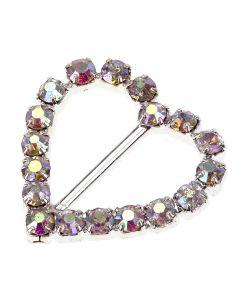 Crystal AB Heart Diamante Buckle - Small Vertical Bar