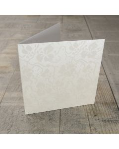 Creased Card Small Square - Broderie Ivory