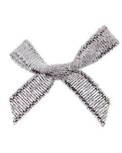 Silver Lurex Ribbon Bows 7mm