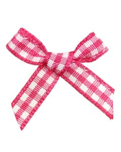 Cerise Gingham Ribbon Bows (7mm wide)