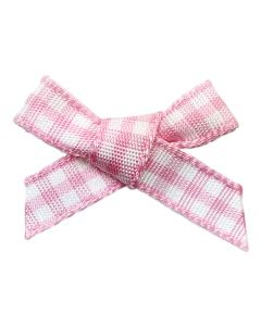 Pink Gingham Ribbon Bows (7mm wide)
