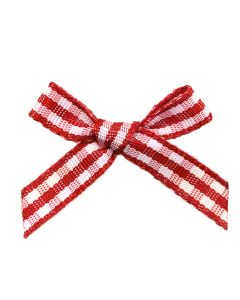 Red Gingham Ribbon Bows (7mm wide)