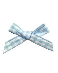 Pale Blue Gingham Ribbon Bows (7mm wide)