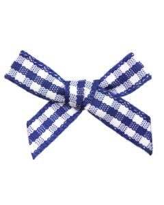 Navy Gingham Ribbon Bows (7mm wide)