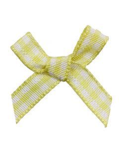 Lemon Gingham Ribbon Bows (7mm wide)