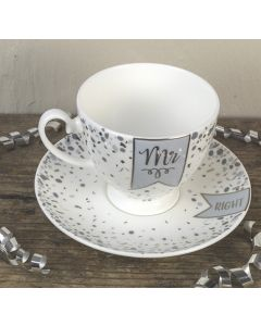 Mr/Right Bone China Tea Cup and Saucer