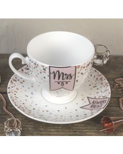Mrs/Always Right Bone China Tea Cup and Saucer