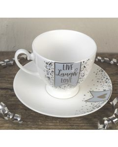 Live Laugh Love Bone China Tea Cup and Saucer