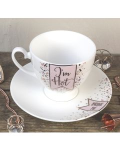 Im Hot/Drink Me Bone China Tea Cup and Saucer