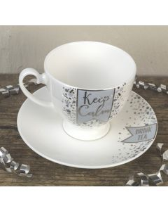 Keep Calm/Drink Tea Bone China Tea Cup and Saucer