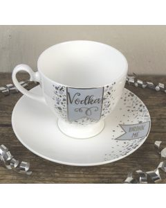 Vodka/Drink Me Bone China Tea Cup and Saucer