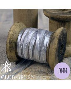 Club Green Organza Ribbon- Satin Edged with Metallic Thread - 10mm wide