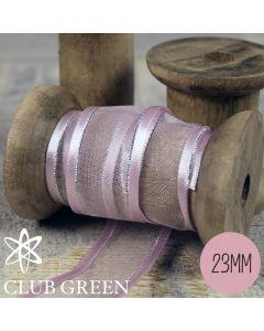 Club Green Organza Ribbon- Satin Edged with Metallic Thread - 23mm wide