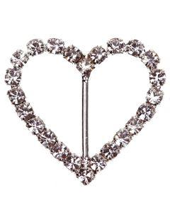 Heart Diamante Buckle - (Large) Vertical Bar