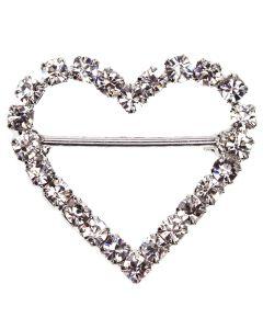 Heart Diamante Buckle - (Large) Horizontal Bar