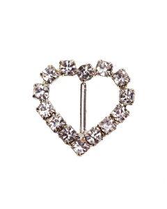 Heart Diamante Buckle - (Mini) Vertical Bar