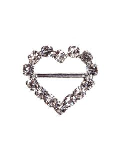 Heart Diamante Buckle - (Mini) Horizontal Bar