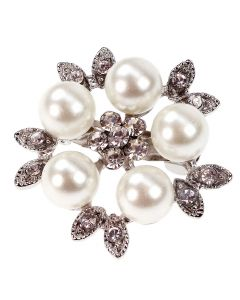 Coco - a diamante and pearl brooch