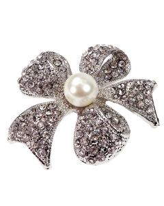 Hope Diamante Ribbon Bow Brooch