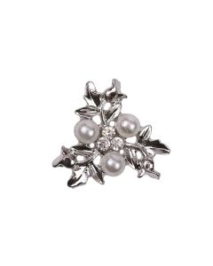 Trinity (Mini) Diamante and Pearl Floral Embellishment