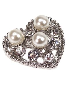 Silver Ammara Diamante and Pearl Heart Embellishment