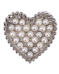 Silver Oribella Pearl Heart Embellishment