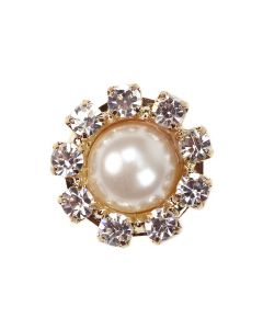 Gold Diamante Pearl Circle Mini
