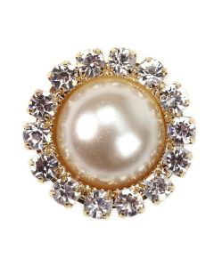 Gold Diamante Pearl Circle Embellishment