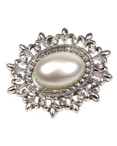 Silver Tesoro Small Diamante and Pearl Embellishment