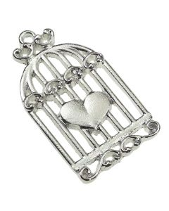 Birdcage Heart Charm - Side View