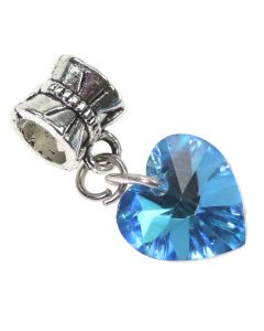 Crystal Heart Charm - Turquoise