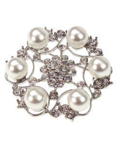 The Santorini Diamante and Pearl Large Brooch