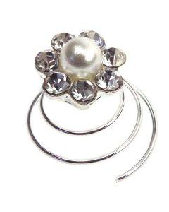 Diamante and Pearl Crystal Flower Twist