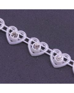 Heart Diamante Trim White - Zoom