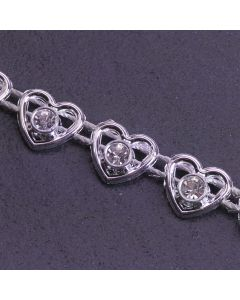Heart Diamante Trim Silver - Zoom