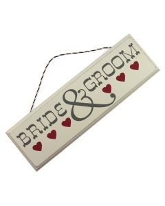 'Bride and Groom' Hanging Sign with Hearts