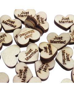 Wooden Just Married Heart Confetti