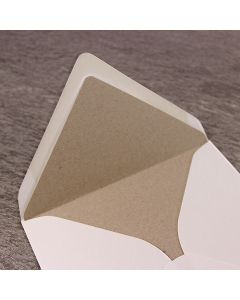 Kraft Envelope Liner - Large Square 155mm - Shown in Ivory Envelope