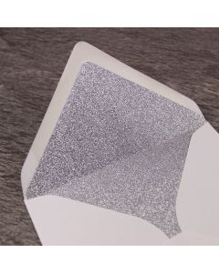 Silver Glitter Paper Envelope Liner - Large Square 155mm - Shown in Ivory Envelope