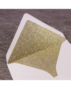 Gold Glitter Paper Envelope Liner - Large Square 155mm - Shown in Ivory Envelope