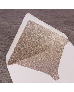 Champagne Supernova Glitter Paper Envelope Liner - Large Square 155mm - Shown in Ivory Envelope