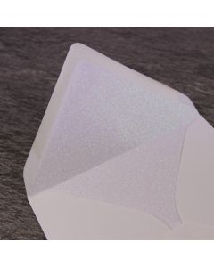Iridescent White Glitter Paper Envelope Liner - Large Square 155mm - Shown in Ivory Envelope