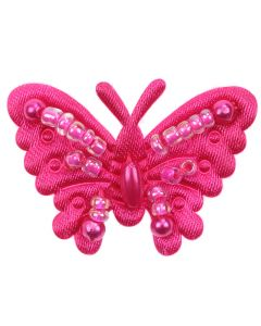 Fuchsia Beaded Fabric Butterflies