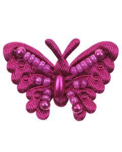 Magenta Beaded Fabric Butterflies