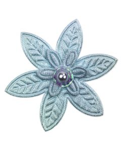 Sky Blue Embroidered Pointed Daisy Embellishment