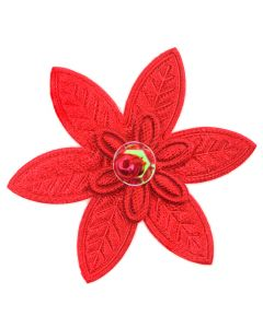 Red Embroidered Pointed Daisy Embellishment