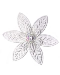 White Embroidered Pointed Daisy Embellishment